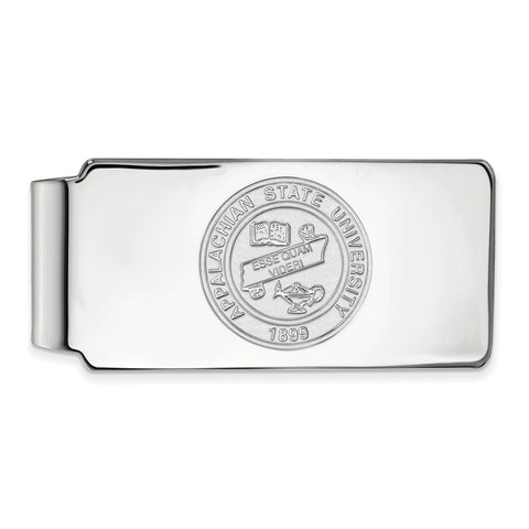 10k White Gold Logoart Appalachian State University Mountaineers Money Clip Crest