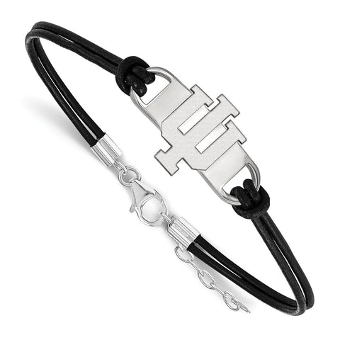 Sterling Silver LogoArt Indiana University Large Center Leather Bracelet
