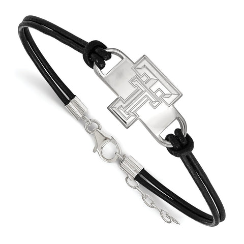 Sterling Silver LogoArt Texas Tech University Small Center Leather Bracelet