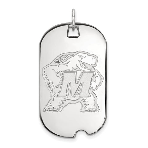 10k White Gold Logoart Maryland Large Dog Tag
