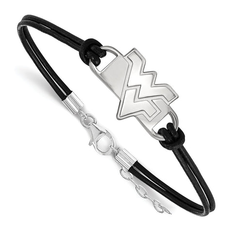 Sterling Silver LogoArt West Virginia University Small Center Leather Brace