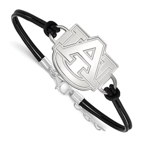 Sterling Silver LogoArt Auburn University XL Center Leather Bracelet