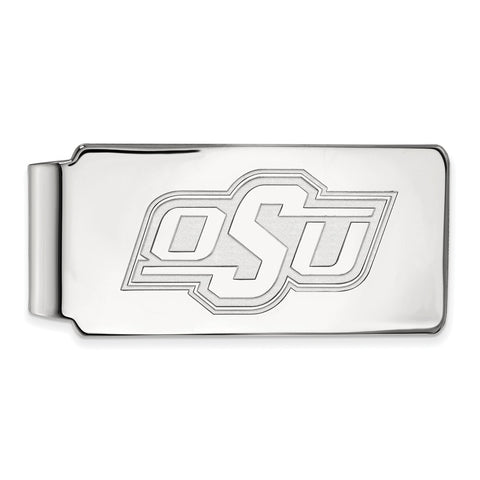 10k White Gold Logoart Oklahoma State University Cowboys Money Clip