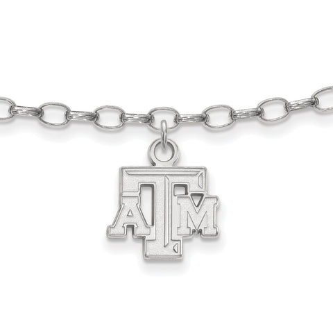 Sterling Silver LogoArt Texas A&M University Anklet