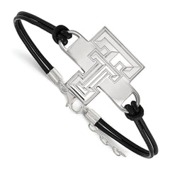 Sterling Silver LogoArt Texas Tech University Large Center Leather Bracelet