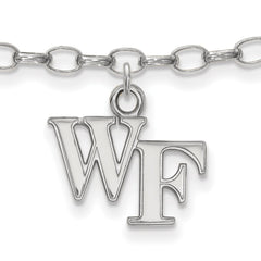 Sterling Silver LogoArt Wake Forest University Anklet
