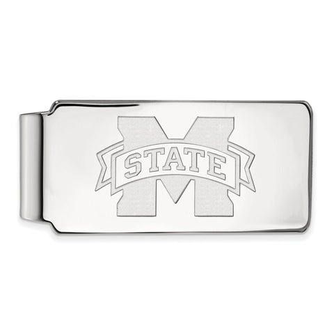 10k White Gold Logoart Mississippi State University Bulldogs Money Clip