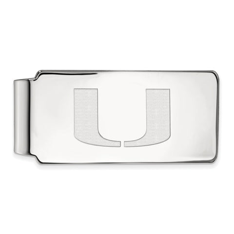 Sterling Silver LogoArt University of Miami Money Clip