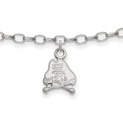 Sterling Silver LogoArt East Carolina University Anklet