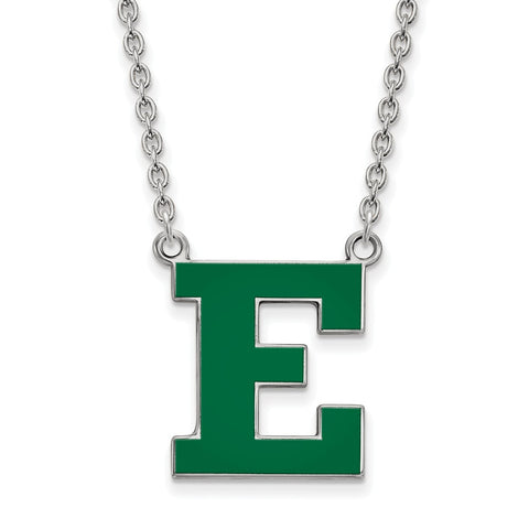 Sterling Silver LogoArt Eastern Michigan U Enamel Large Pendant w/Necklace