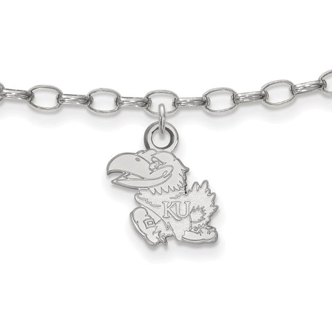 Sterling Silver LogoArt University of Kansas Anklet