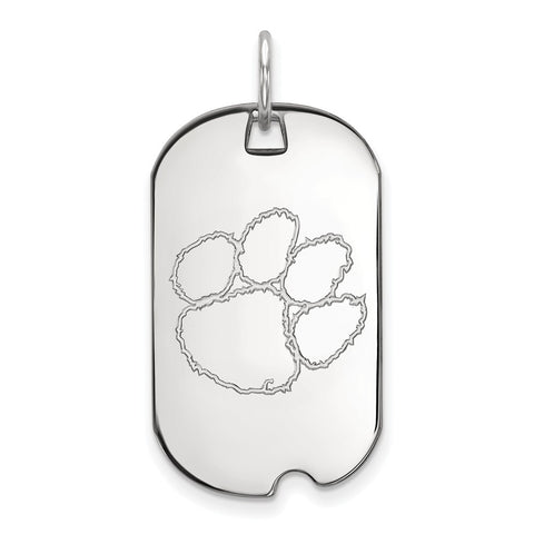 Sterling Silver LogoArt Clemson University Small Dog Tag
