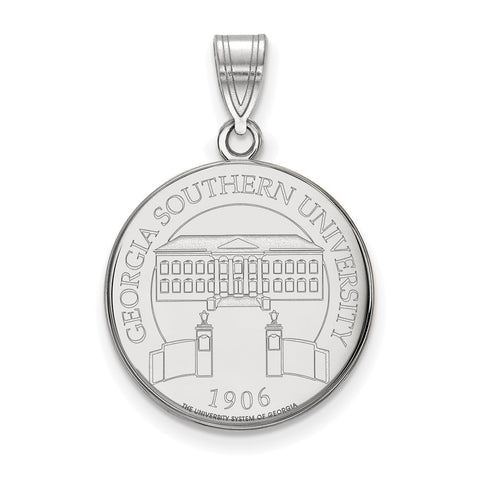 Sterling Silver LogoArt Georgia Southern University Large Crest Pendant