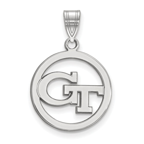 Sterling Silver LogoArt Georgia Institute of Technology Md Pendant in Circl