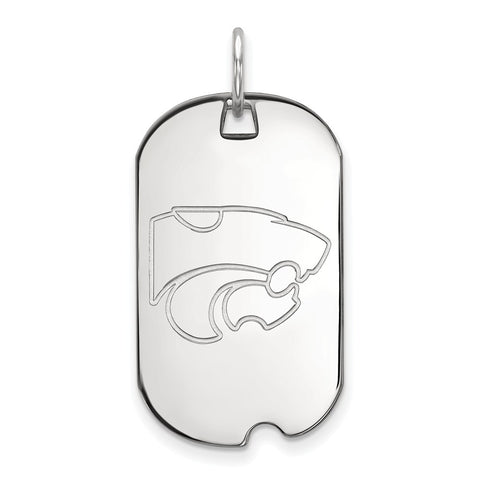 10k White Gold Logoart Kansas State University Wildcats Small Dog Tag
