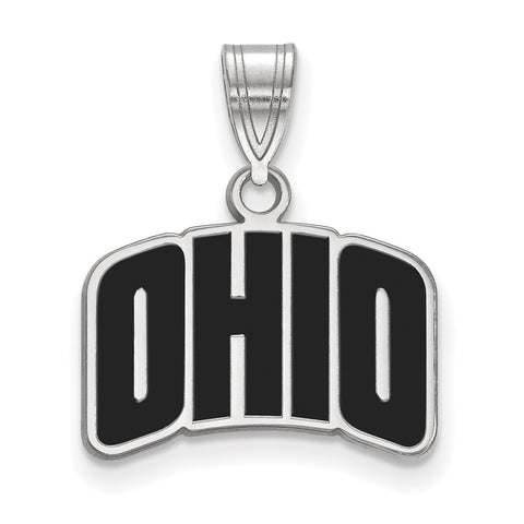 Sterling Silver LogoArt Ohio University Small Enamel Pendant
