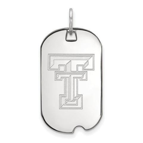 10k White Gold Logoart Texas Tech University Red Raiders Small Dog Tag