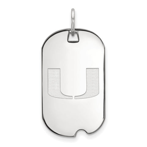Sterling Silver LogoArt University of Miami Small Dog Tag