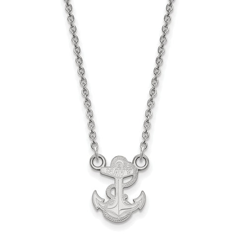 14kw LogoArt United States Naval Academy Small Pendant w/Necklace