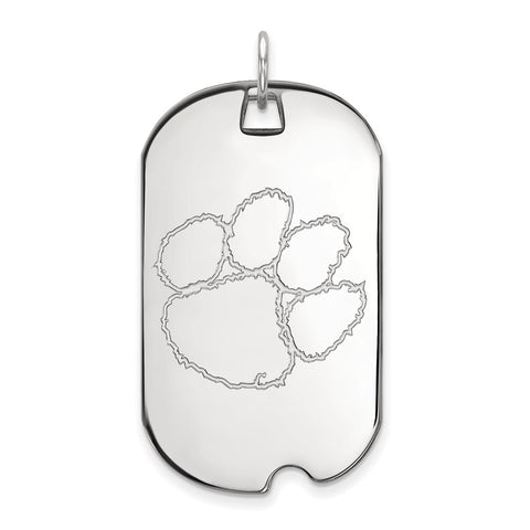 10k White Gold Logoart Clemson University Tigers Large Dog Tag