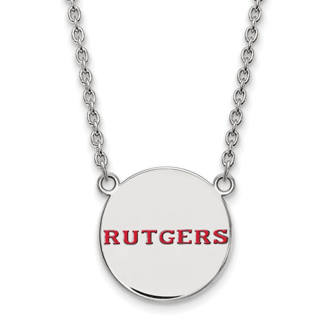 Sterling Silver LogoArt Rutgers Large Enamel Disc Necklace