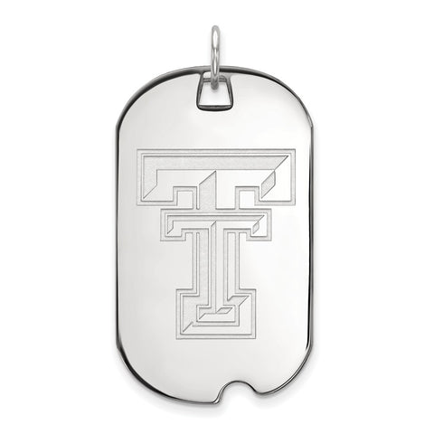 10k White Gold Logoart Texas Tech University Red Raiders Large Dog Tag