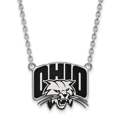 Sterling Silver LogoArt Ohio University Large Enamel Pendant w/Necklace