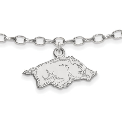 Sterling Silver Logoart University Of Arkansas Razorbacks Anklet