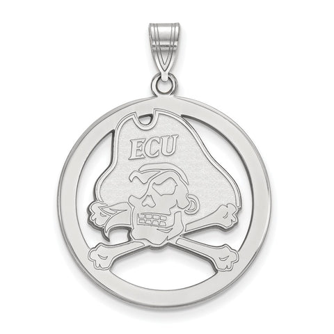 Sterling Silver LogoArt East Carolina University L Pendant in Circle