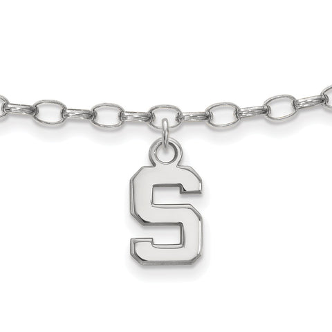 Sterling Silver LogoArt Michigan State University Anklet