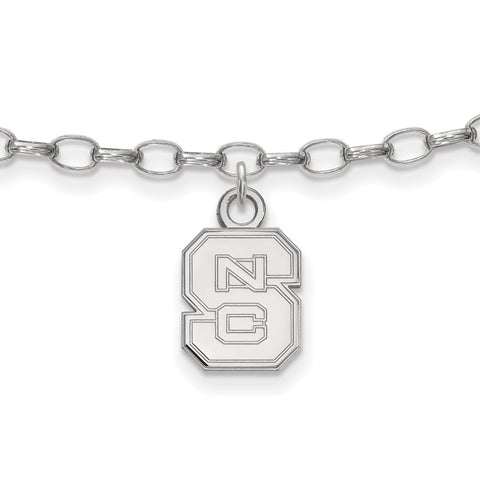 Sterling Silver LogoArt North Carolina State University Anklet