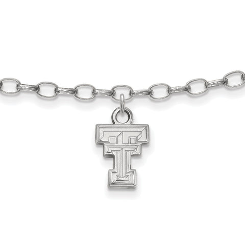 Sterling Silver LogoArt Texas Tech University Anklet