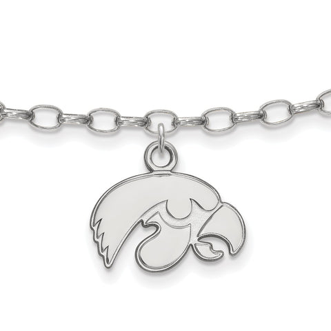 Sterling Silver LogoArt University of Iowa Anklet