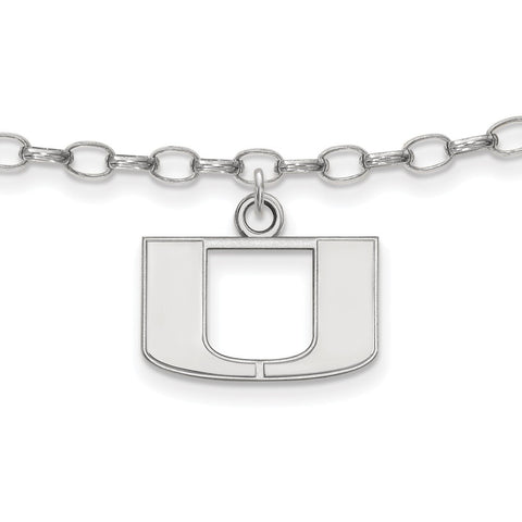 Sterling Silver LogoArt University of Miami Anklet