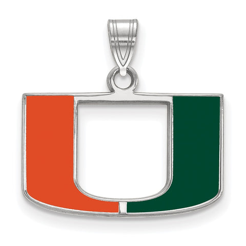 Sterling Silver LogoArt University of Miami Small Enamel Pendant