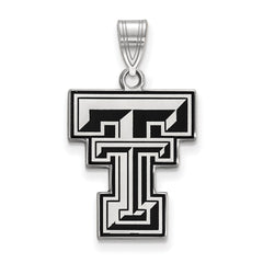 Sterling Silver LogoArt Texas Tech University Large Enamel Pendant