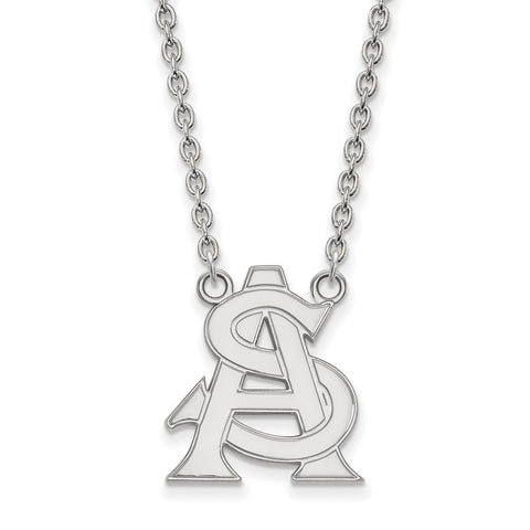 Sterling Silver LogoArt Arizona State University Large Pendant w/Necklace
