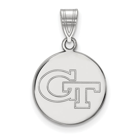 Sterling Silver LogoArt Georgia Institute of Technology Medium Disc Pendant