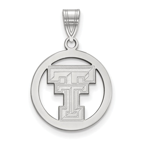 Sterling Silver LogoArt Texas Tech University Med Pendant in Circle