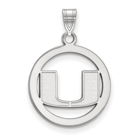 Sterling Silver LogoArt University of Miami Medium Pendant in Circle