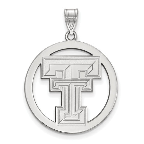 Sterling Silver LogoArt Texas Tech University XL Pendant in Circle