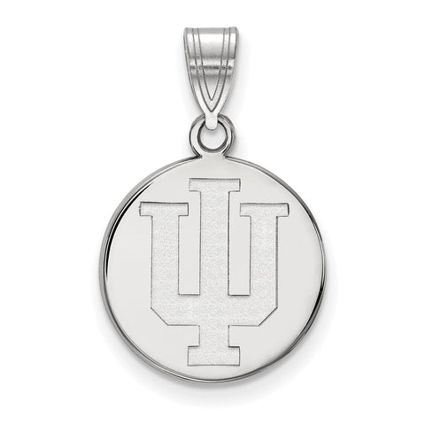 Sterling Silver LogoArt Indiana University Medium Disc Pendant