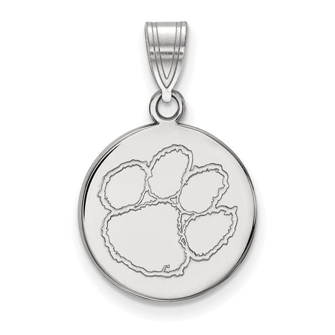 Sterling Silver LogoArt Clemson University Medium Disc Pendant
