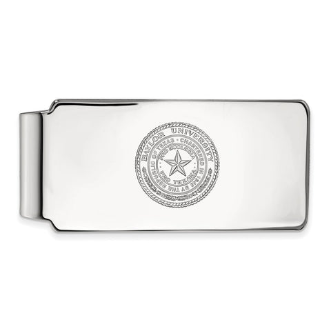 10k White Gold Logoart Baylor University Bears Money Clip Crest