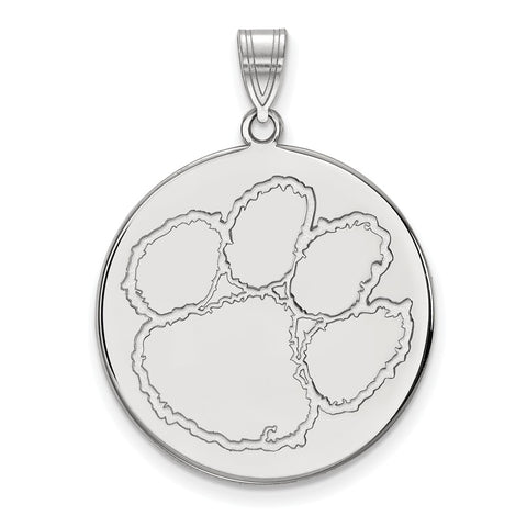 Sterling Silver LogoArt Clemson University XL Disc Pendant