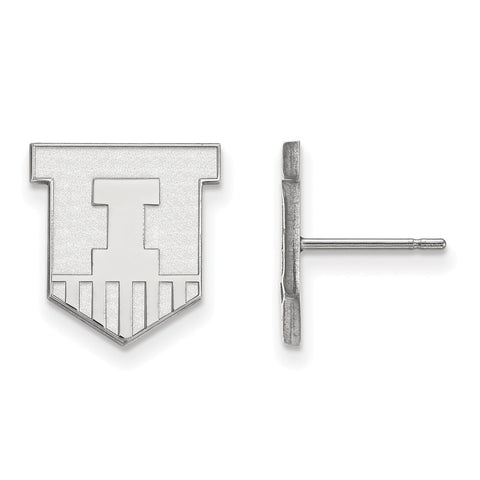 14kw LogoArt University of Illinois Small Post Earrings