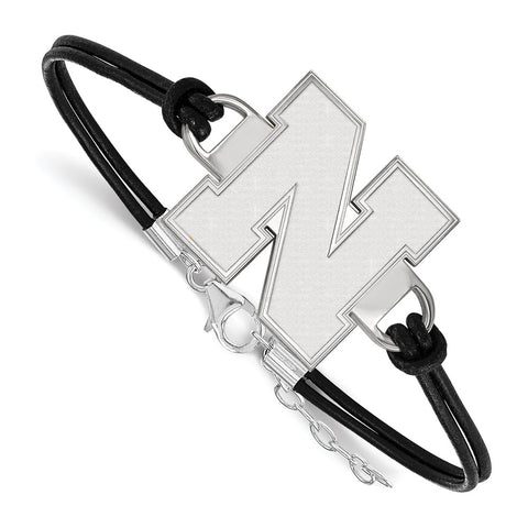 Sterling Silver LogoArt University of Nebraska Large Leather Bracelet
