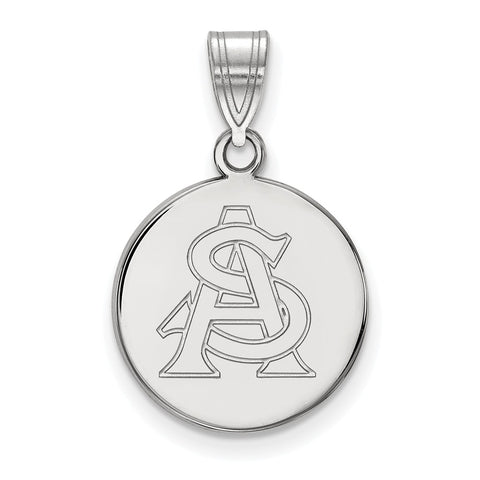 Sterling Silver LogoArt Arizona State University Medium Disc Pendant