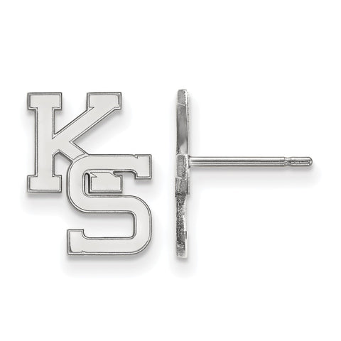 10k White Gold Logoart Kansas State University Wildcats Small Post Earrings