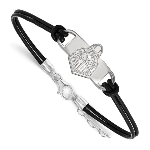 Sterling Silver LogoArt Purdue University Small Center Leather Bracelet